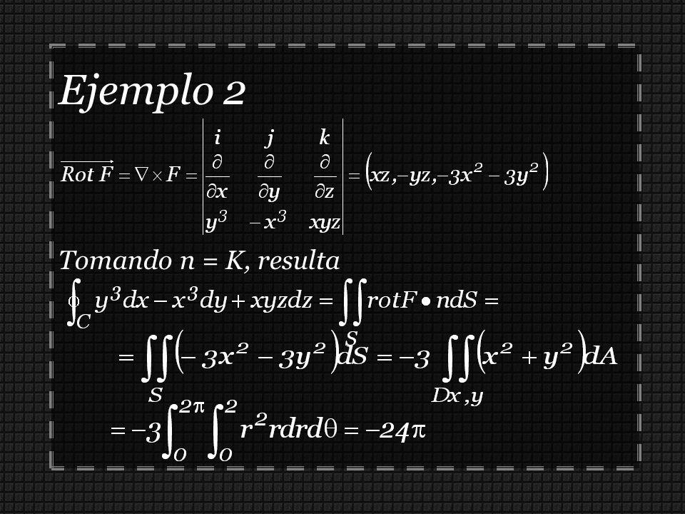 Ejemplo 2 Tomando n = K, resulta