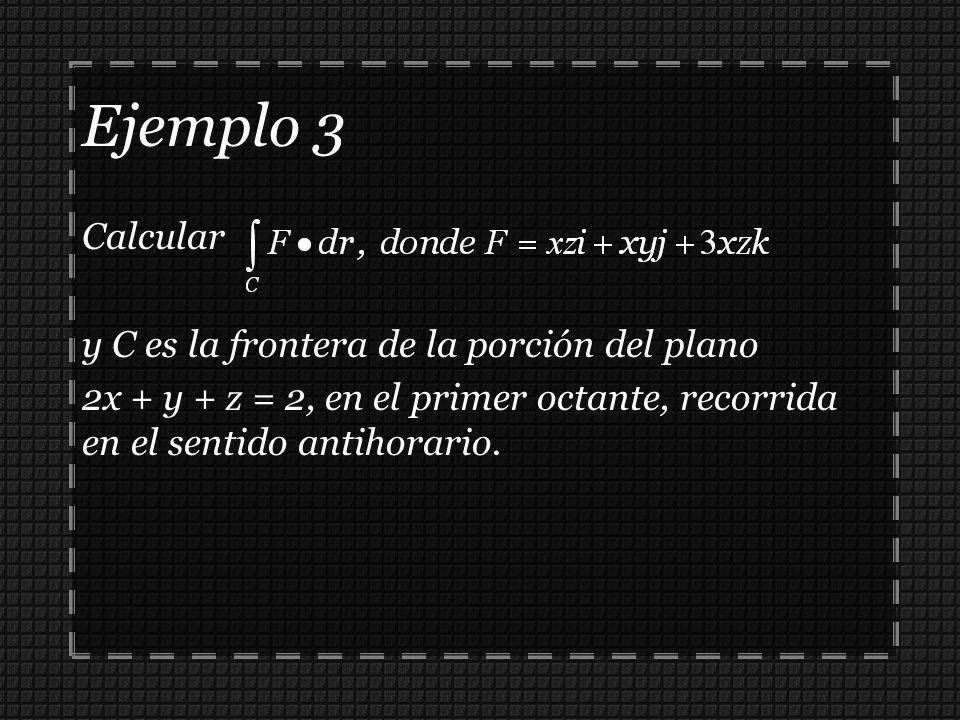 Ejemplo 3 Calcular y C es la frontera de la porción del plano