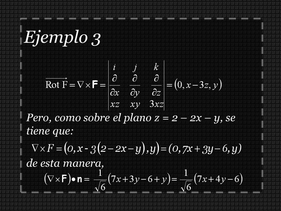 Ejemplo 3 Pero, como sobre el plano z = 2 – 2x – y, se tiene que: