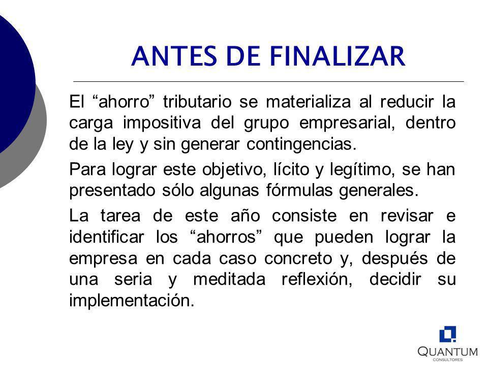 ANTES DE FINALIZAR