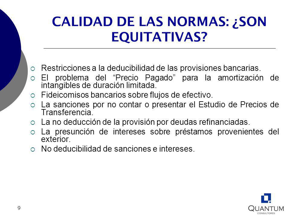 CALIDAD DE LAS NORMAS: ¿SON EQUITATIVAS