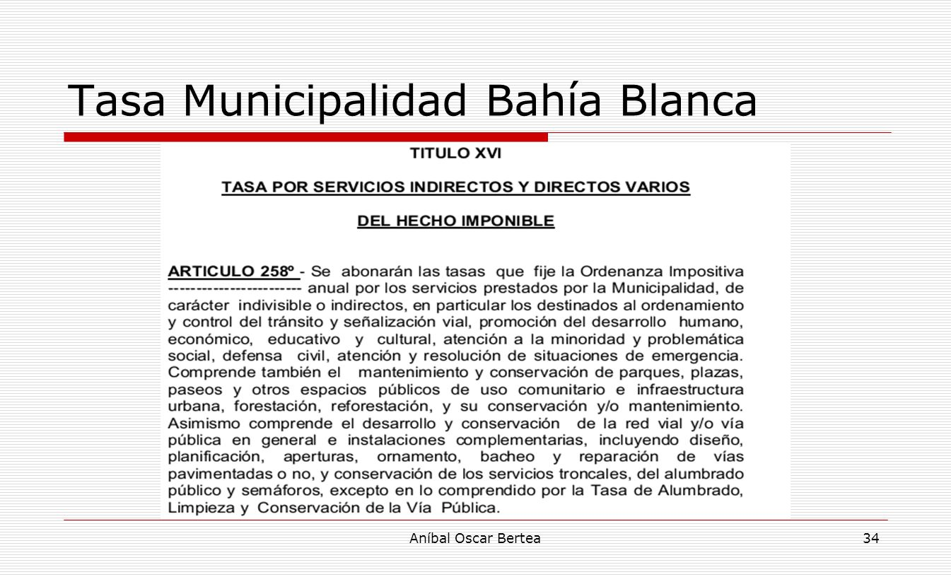 Tasa Municipalidad Bahía Blanca
