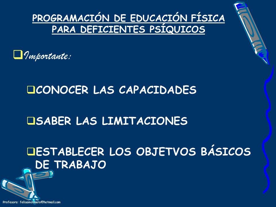 PROGRAMACIÓN DE EDUCACIÓN FÍSICA PARA DEFICIENTES PSÍQUICOS