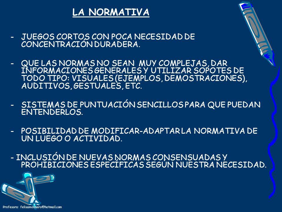 LA NORMATIVA JUEGOS CORTOS CON POCA NECESIDAD DE CONCENTRACIÓN DURADERA.