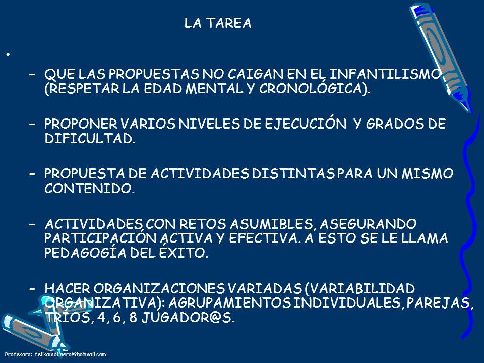 PROPONER VARIOS NIVELES DE EJECUCIÓN Y GRADOS DE DIFICULTAD.