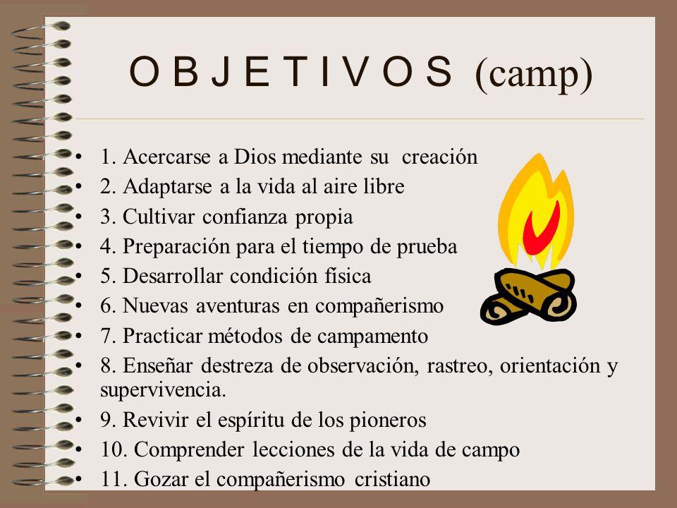 O B J E T I V O S (camp) 1. Acercarse a Dios mediante su creación
