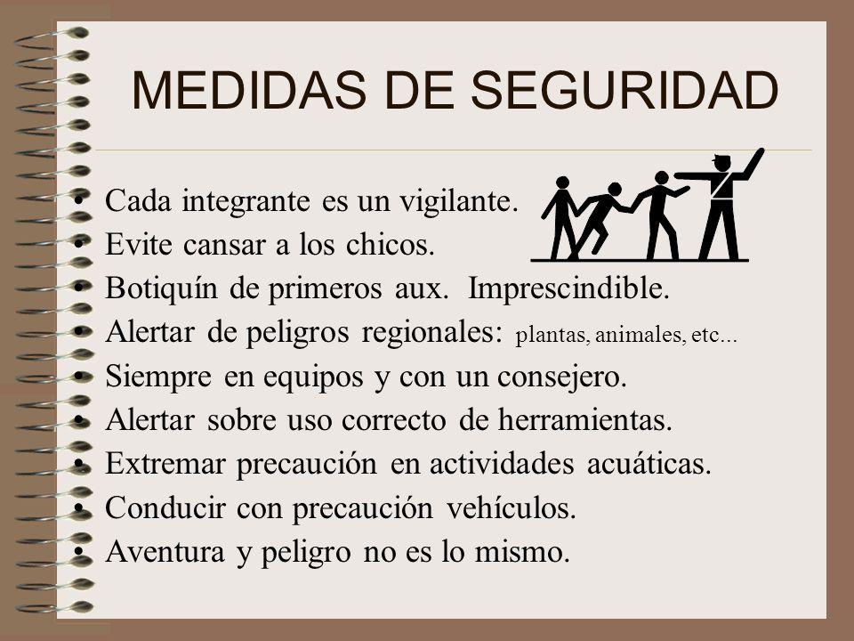MEDIDAS DE SEGURIDAD Cada integrante es un vigilante.