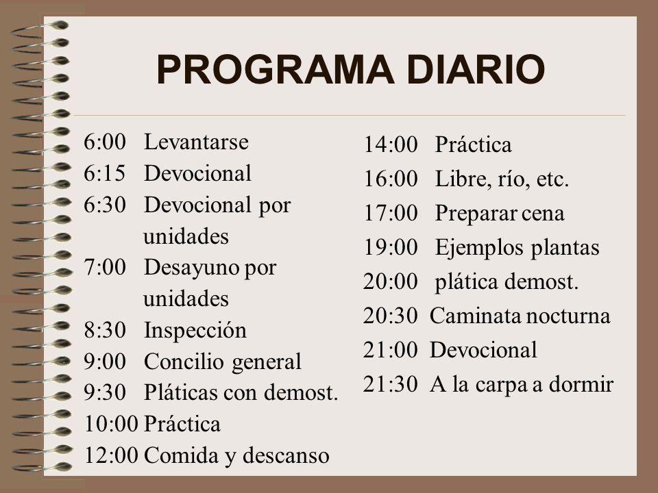 PROGRAMA DIARIO 6:00 Levantarse 6:15 Devocional 6:30 Devocional por