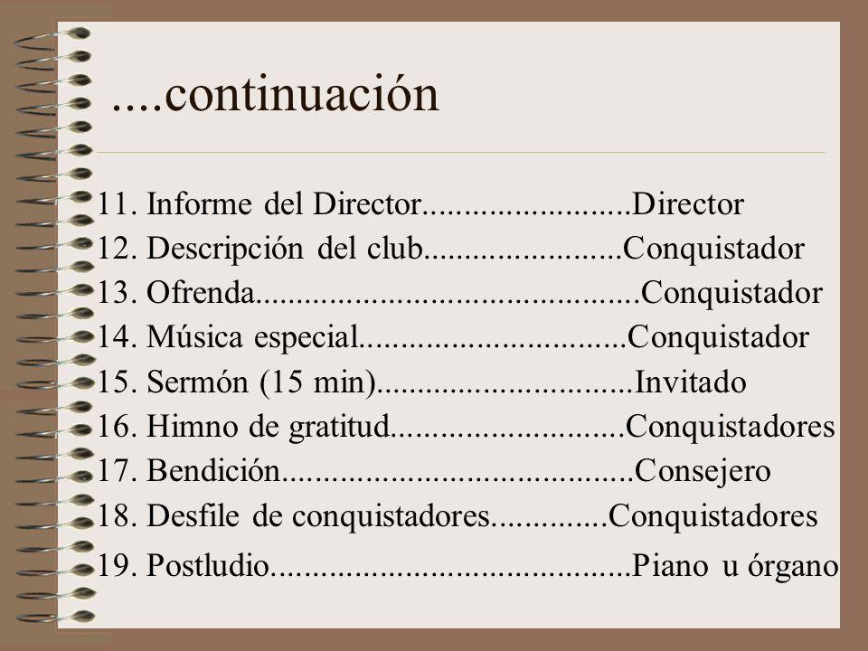....continuación 11. Informe del Director.........................Director. 12. Descripción del club........................Conquistador.
