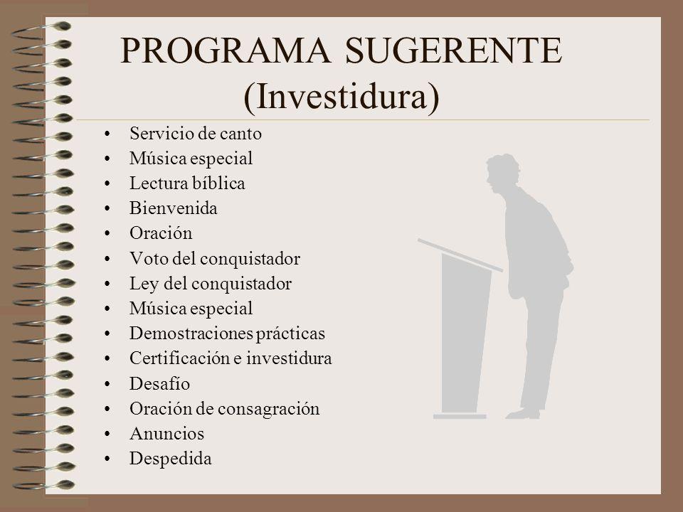 PROGRAMA SUGERENTE (Investidura)