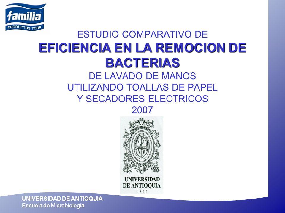 ESTUDIO COMPARATIVO DE EFICIENCIA EN LA REMOCION DE BACTERIAS DE LAVADO DE MANOS UTILIZANDO TOALLAS DE PAPEL Y SECADORES ELECTRICOS 2007