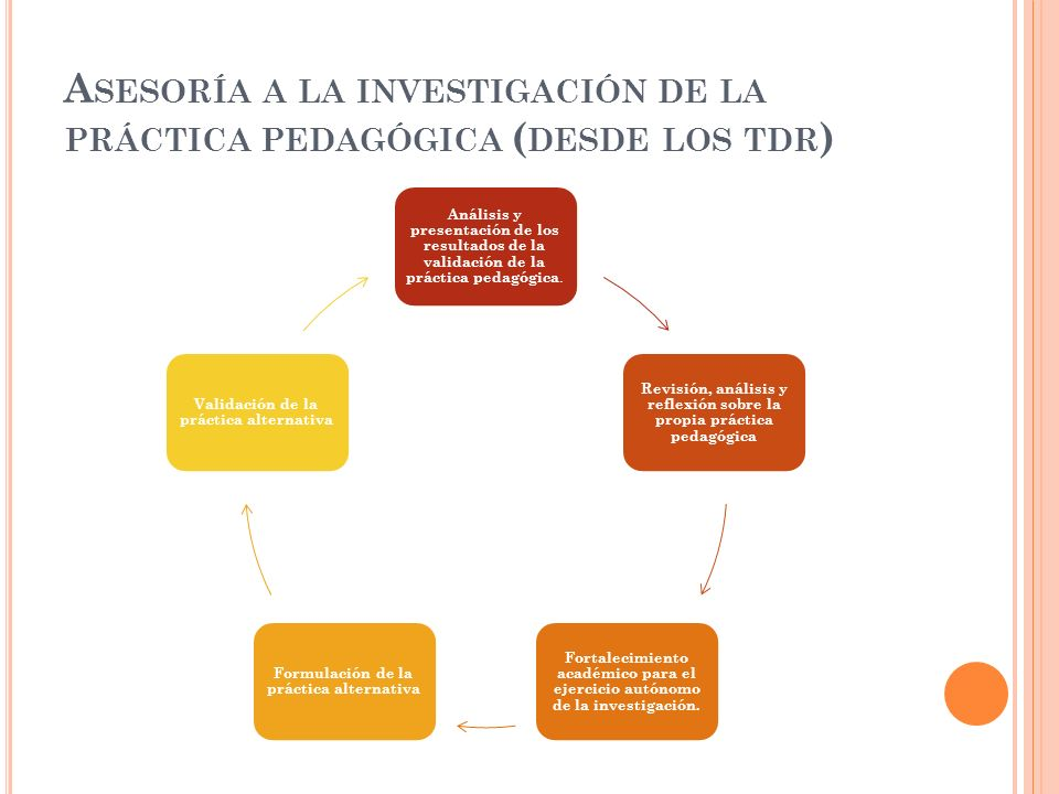 Asesoría a la investigación de la práctica pedagógica (desde los tdr)