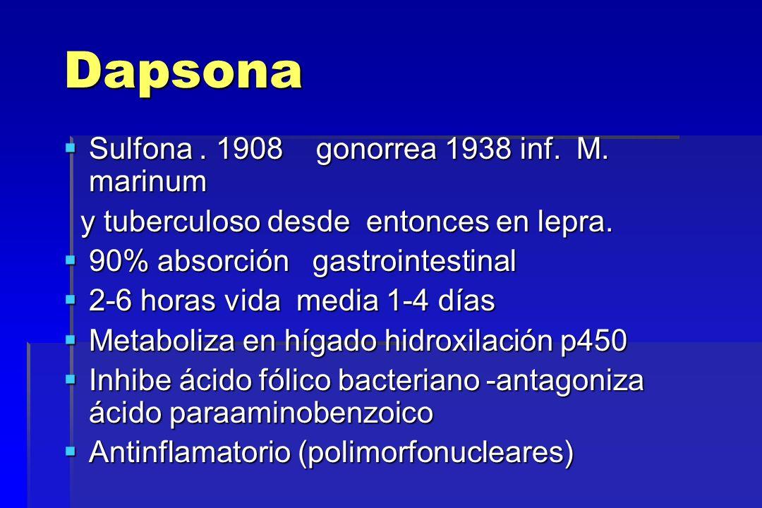 Dapsona Sulfona . 1908 gonorrea 1938 inf. M. marinum