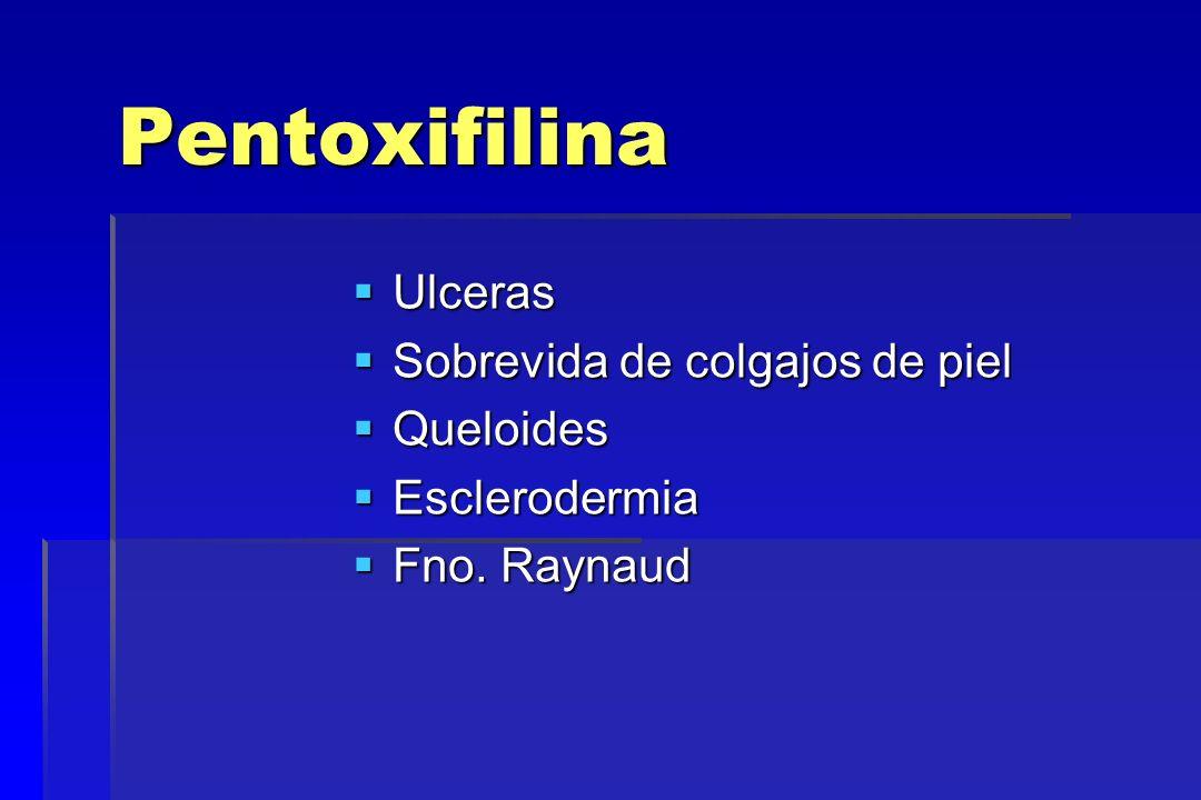 Pentoxifilina Ulceras Sobrevida de colgajos de piel Queloides