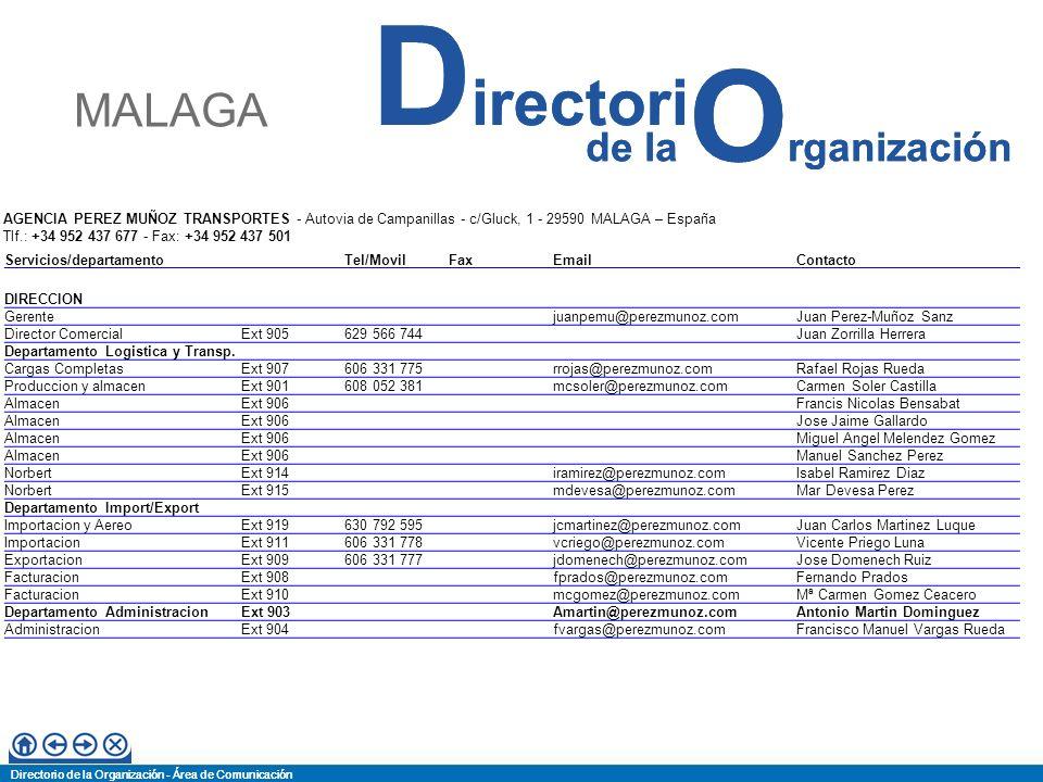 MALAGA AGENCIA PEREZ MUÑOZ TRANSPORTES - Autovia de Campanillas - c/Gluck, 1 - 29590 MALAGA – España.