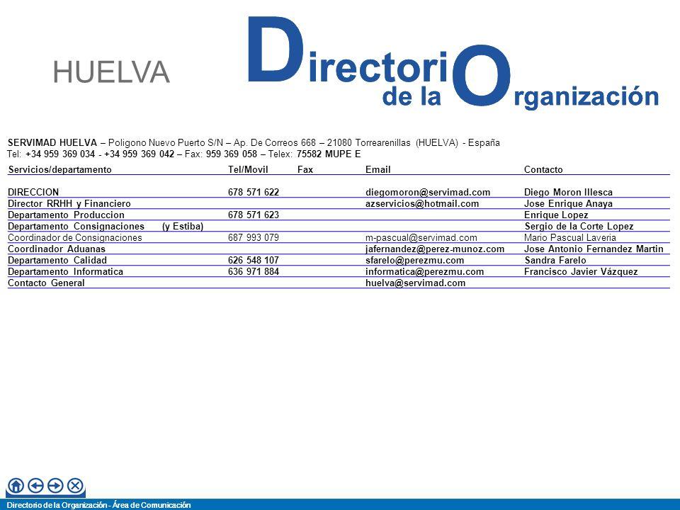 HUELVA SERVIMAD HUELVA – Poligono Nuevo Puerto S/N – Ap. De Correos 668 – 21080 Torrearenillas (HUELVA) - España.