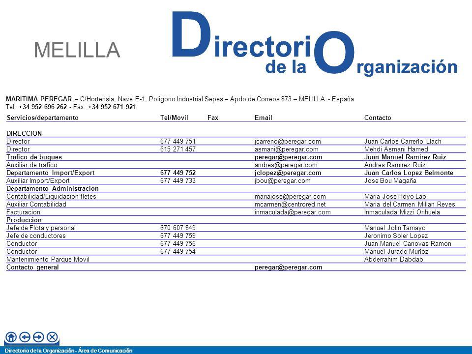 MELILLA MARITIMA PEREGAR – C/Hortensia, Nave E-1, Poligono Industrial Sepes – Apdo de Correos 873 – MELILLA - España.