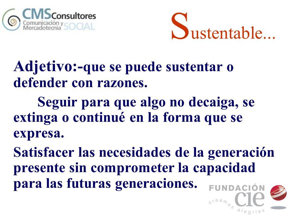 Sustentable... Adjetivo:-que se puede sustentar o defender con razones.