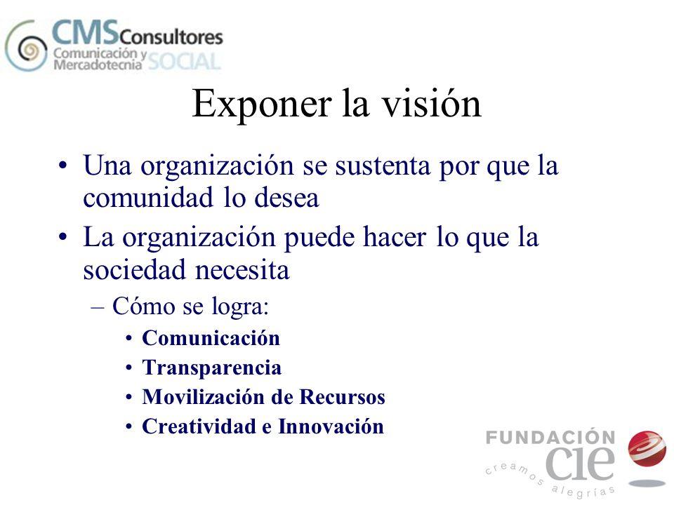 Exponer la visiónUna organización se sustenta por que la comunidad lo desea. La organización puede hacer lo que la sociedad necesita.