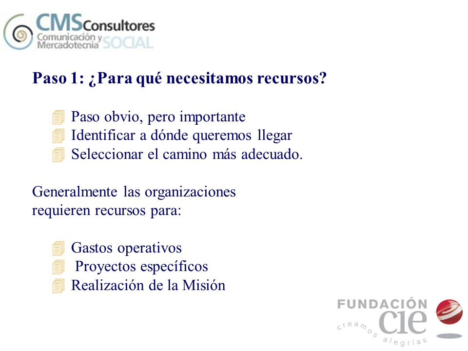 Paso 1: ¿Para qué necesitamos recursos