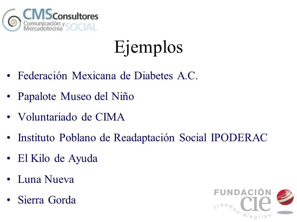 Ejemplos Federación Mexicana de Diabetes A.C. Papalote Museo del Niño