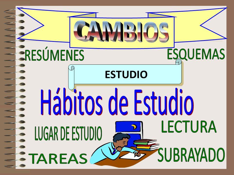 CAMBIOS RESÚMENES ESQUEMAS ESTUDIO Hábitos de Estudio LECTURA