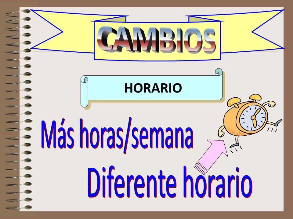 CAMBIOS horario CAMBIOS HORARIO Más horas/semana Diferente horario