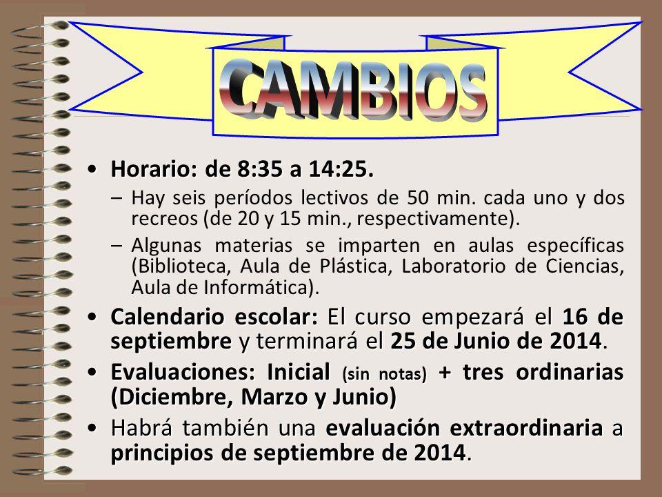 CAMBIOS Horario: de 8:35 a 14:25.