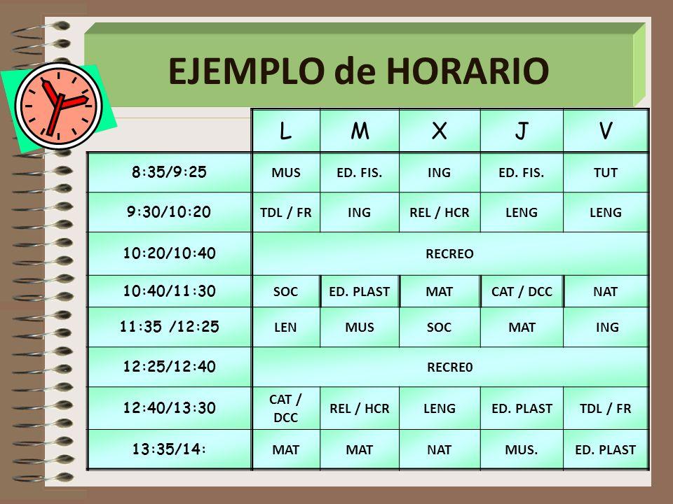 EJEMPLO de HORARIO L M X J V 8:35/9:25 MUS ED. FIS. ING TUT 9:30/10:20