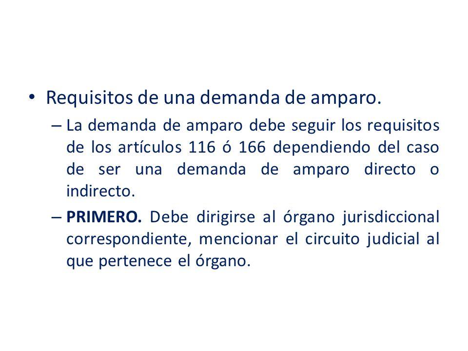 Requisitos de una demanda de amparo.