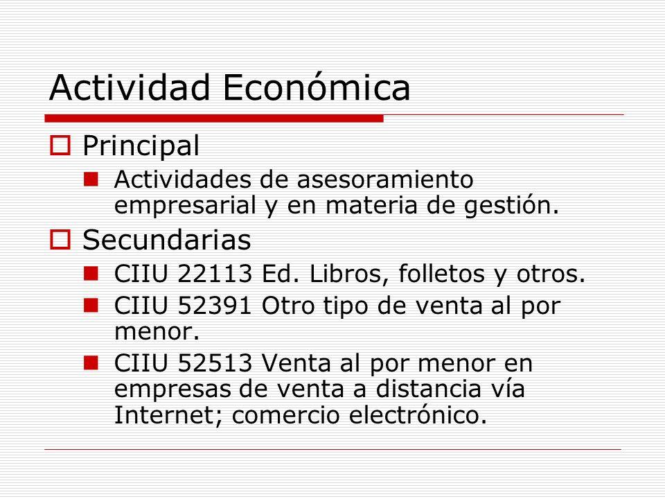 Actividad Económica Principal Secundarias