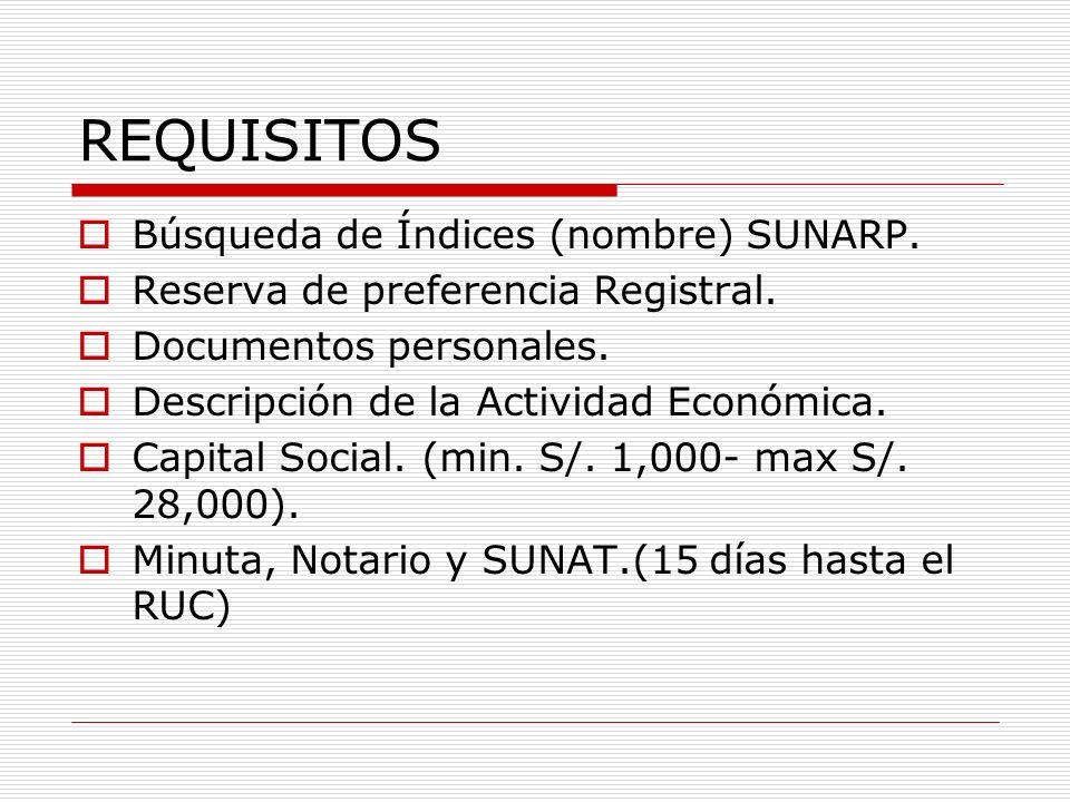 REQUISITOS Búsqueda de Índices (nombre) SUNARP.