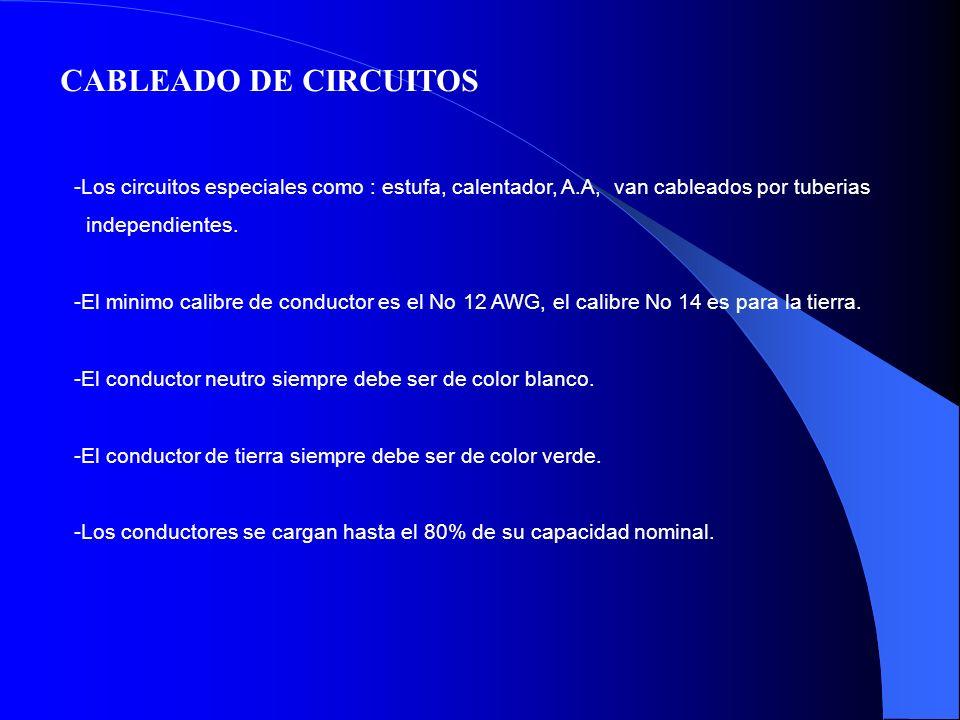 CABLEADO DE CIRCUITOS Los circuitos especiales como : estufa, calentador, A.A, van cableados por tuberias.