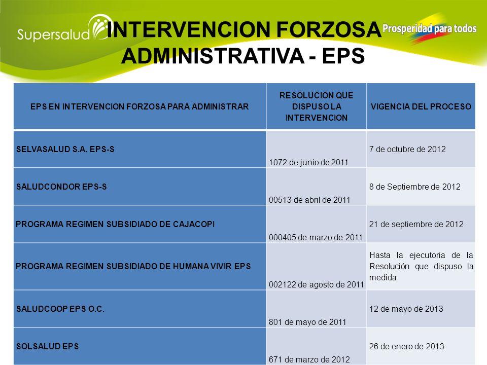 INTERVENCION FORZOSA ADMINISTRATIVA - EPS