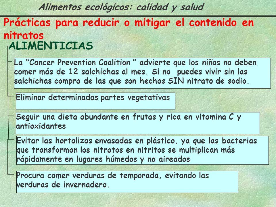 Prácticas para reducir o mitigar el contenido en nitratos