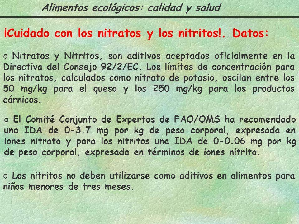 ¡Cuidado con los nitratos y los nitritos!. Datos:
