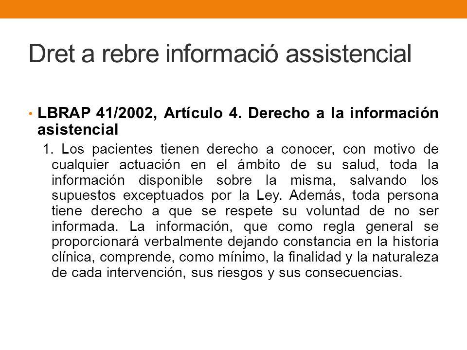 Dret a rebre informació assistencial