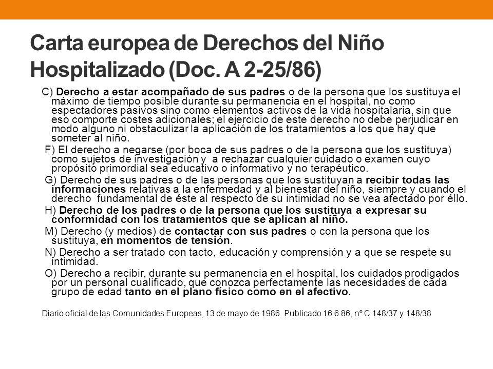 Carta europea de Derechos del Niño Hospitalizado (Doc. A 2-25/86)