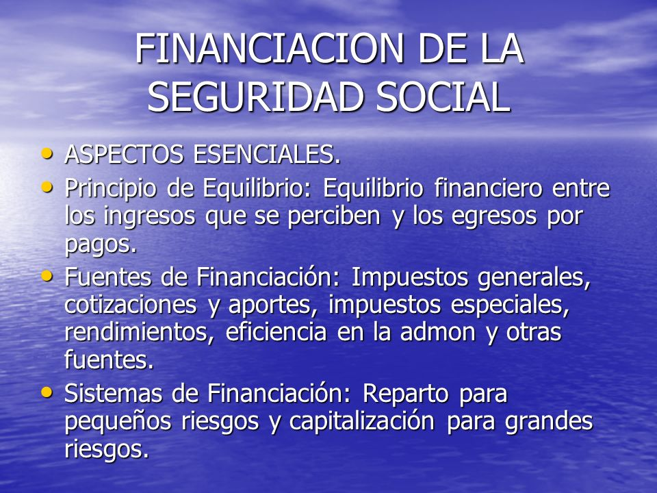 FINANCIACION DE LA SEGURIDAD SOCIAL