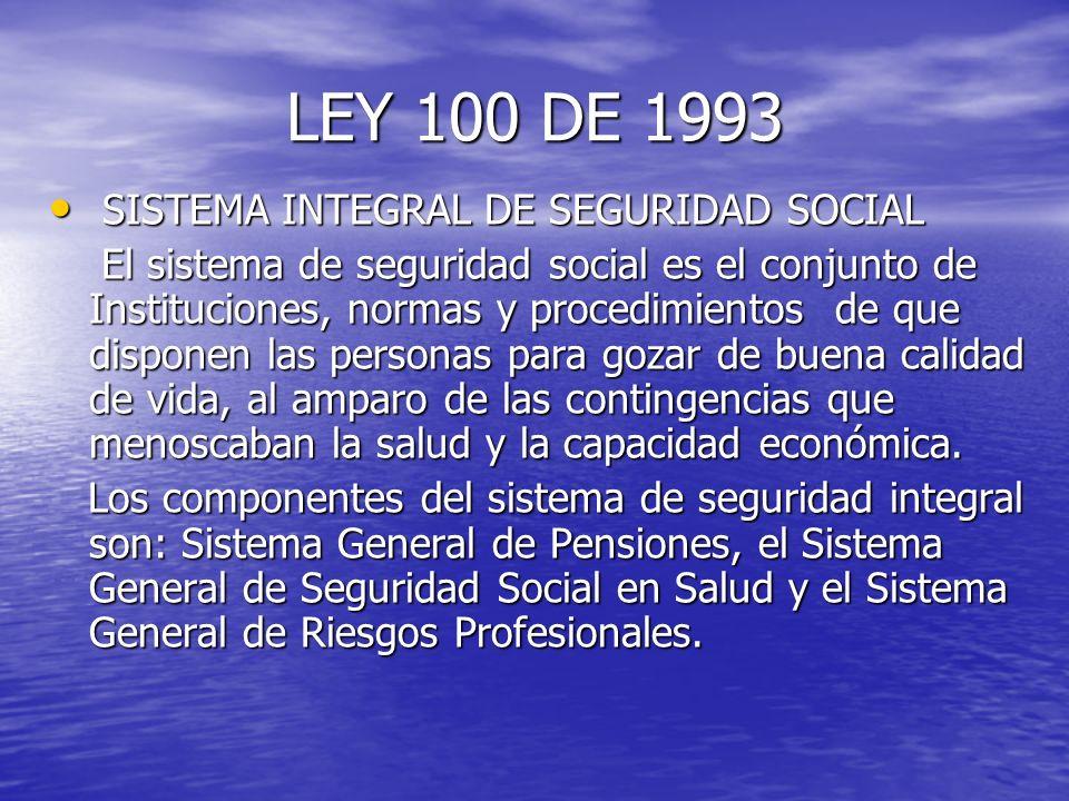 LEY 100 DE 1993 SISTEMA INTEGRAL DE SEGURIDAD SOCIAL