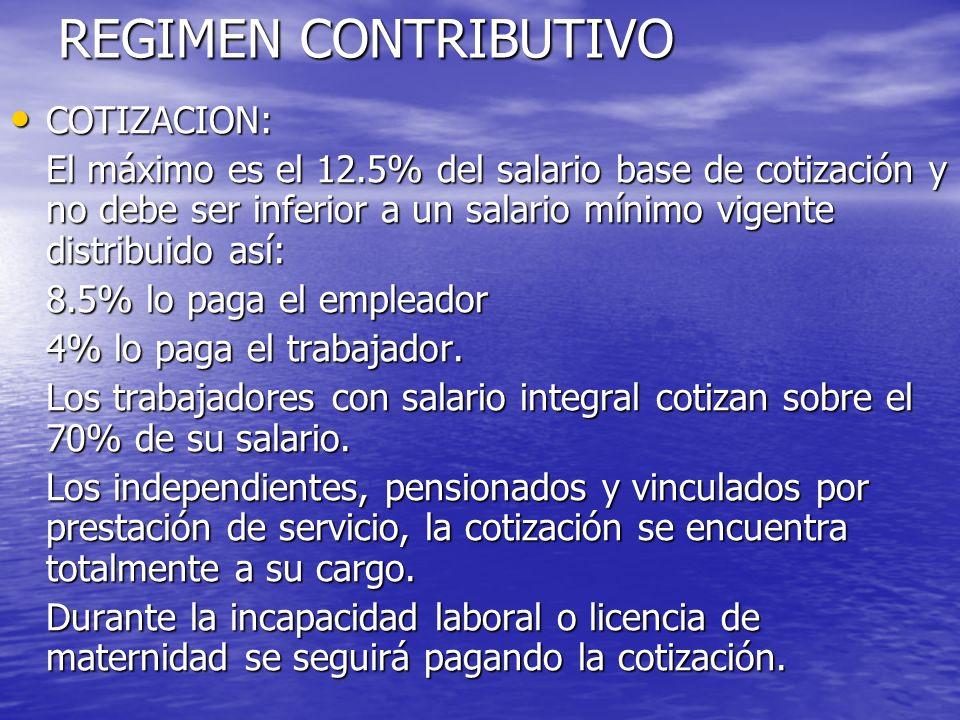 REGIMEN CONTRIBUTIVO COTIZACION: