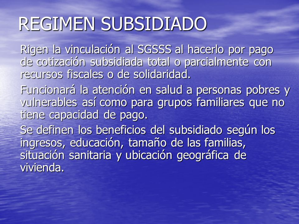 REGIMEN SUBSIDIADO