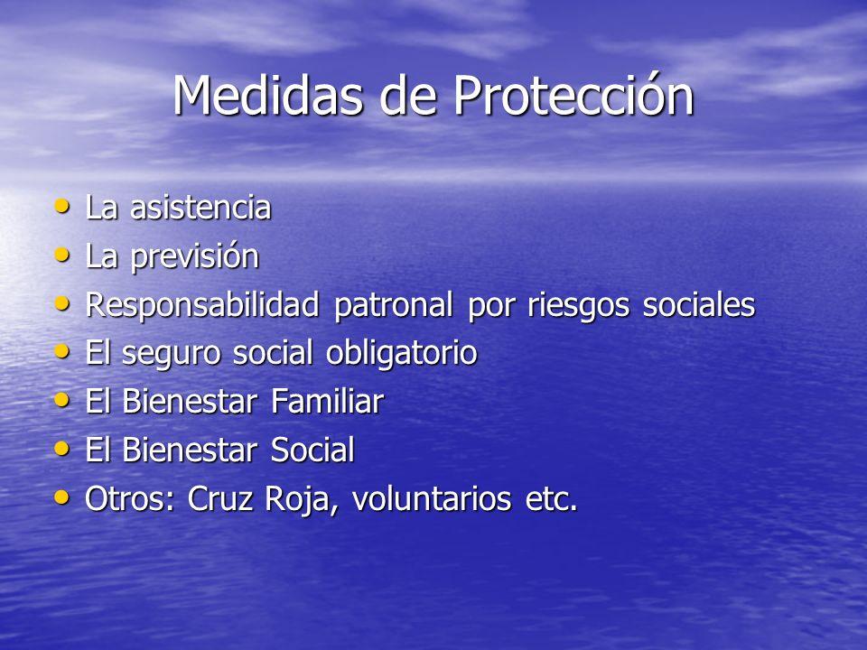 Medidas de Protección La asistencia La previsión