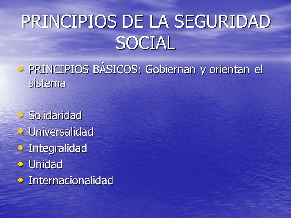 PRINCIPIOS DE LA SEGURIDAD SOCIAL
