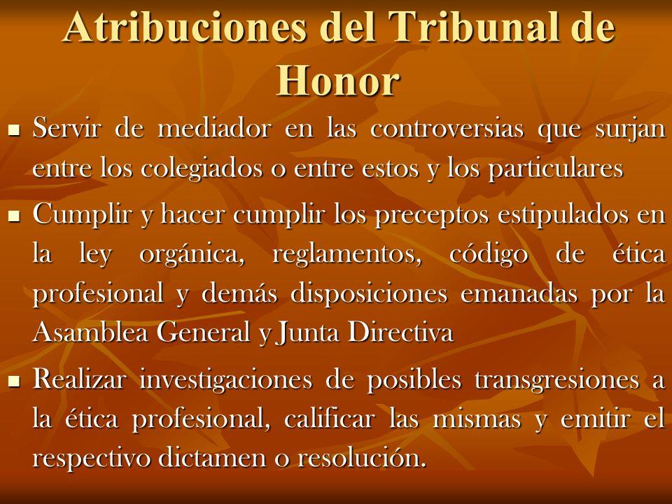 Atribuciones del Tribunal de Honor
