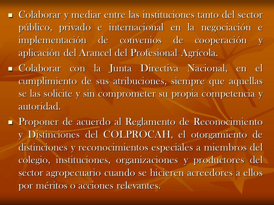 Colaborar y mediar entre las instituciones tanto del sector público, privado e internacional en la negociación e implementación de convenios de cooperación y aplicación del Arancel del Profesional Agrícola.