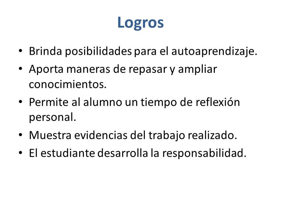 Logros Brinda posibilidades para el autoaprendizaje.