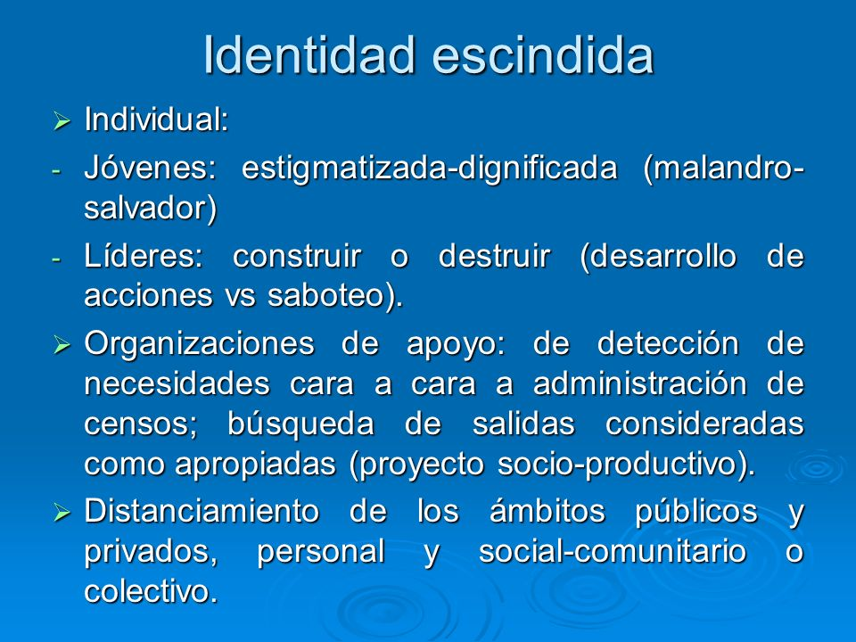 Identidad escindida Individual: