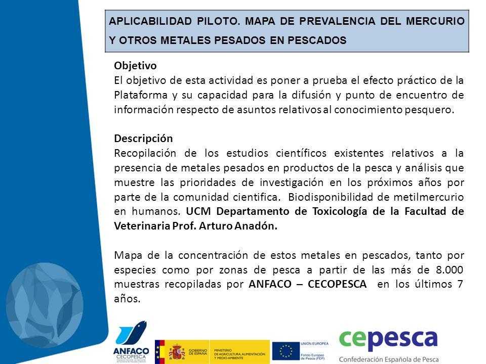 APLICABILIDAD PILOTO. MAPA DE PREVALENCIA DEL MERCURIO Y OTROS METALES PESADOS EN PESCADOS