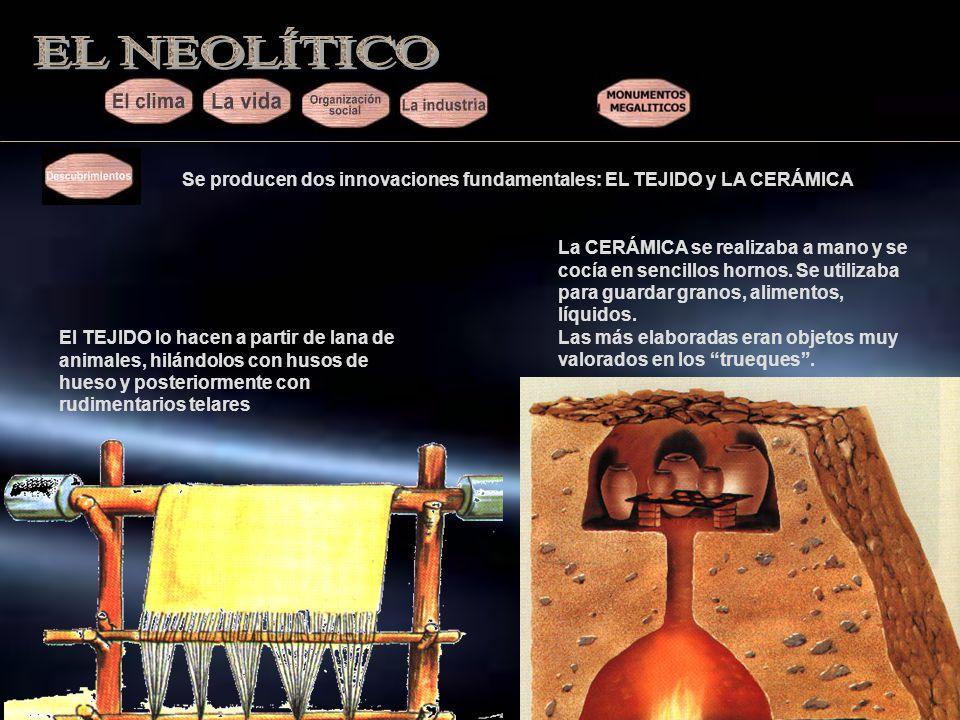 EL NEOLÍTICO Se producen dos innovaciones fundamentales: EL TEJIDO y LA CERÁMICA.